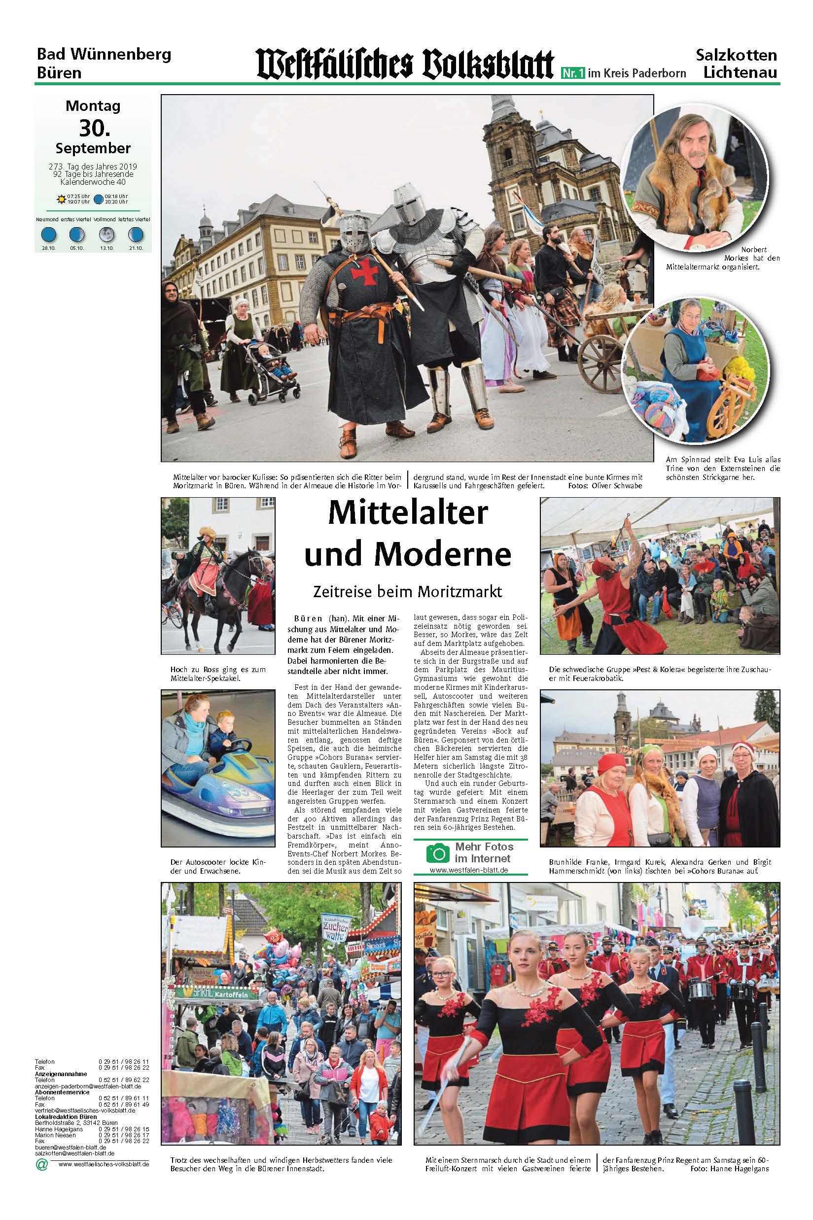 Das war ANNO 1195 auf dem Moritzmarkt zu Büren …